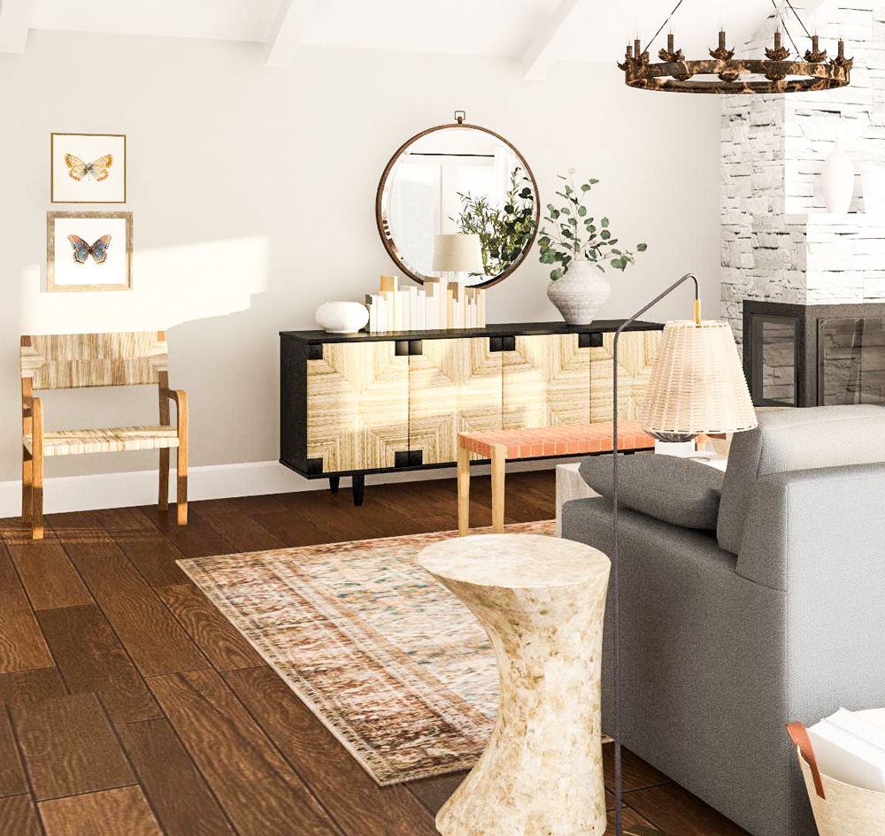 Mary Brown - One Day Design - example of modern rustic living room interior design and decorating