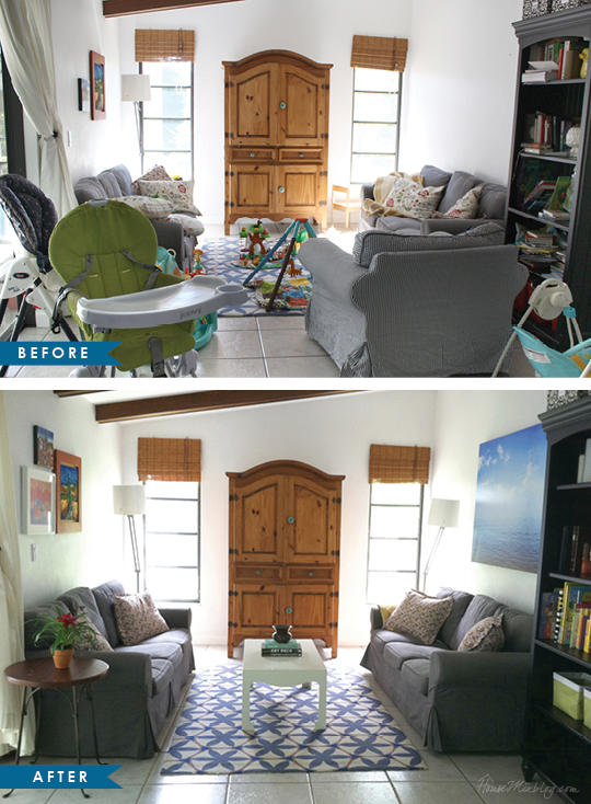 Mary Brown - One Day Design - Example of staging a home before and after photos interior design and decorating